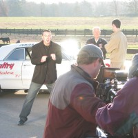James Suttles filming on the music video Carolina Moonshine with NASCAR legend Junior Johnson
